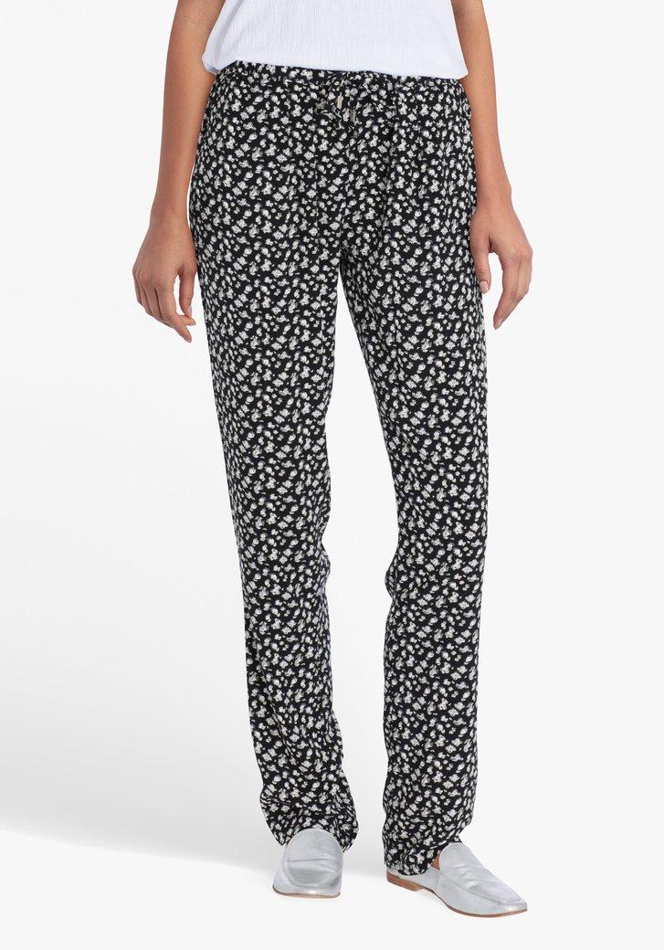 Zwarte broek met wit-beige print