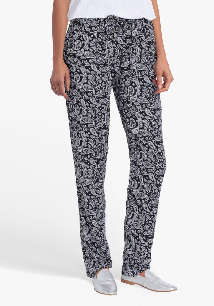 Zwarte broek met witte paisley print