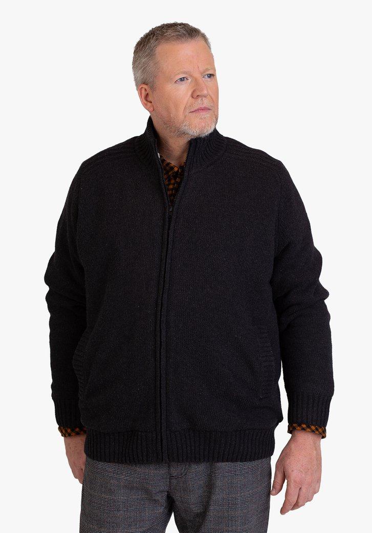 Zwarte cardigan met wol binnenin