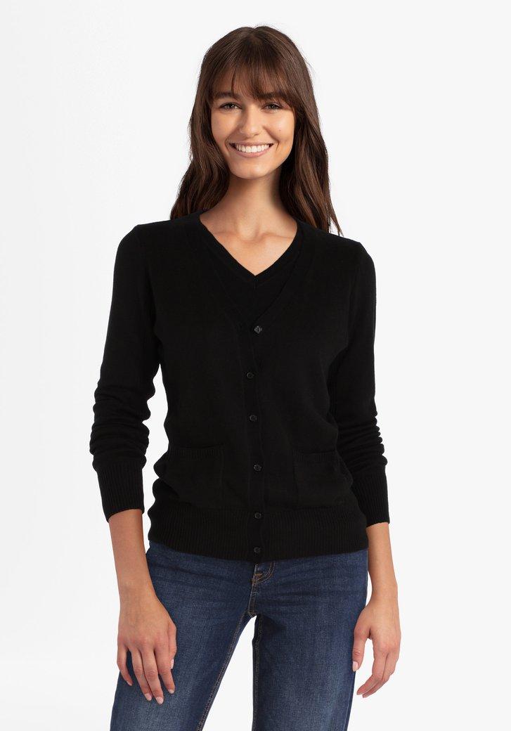 Zwarte cardigan met wol