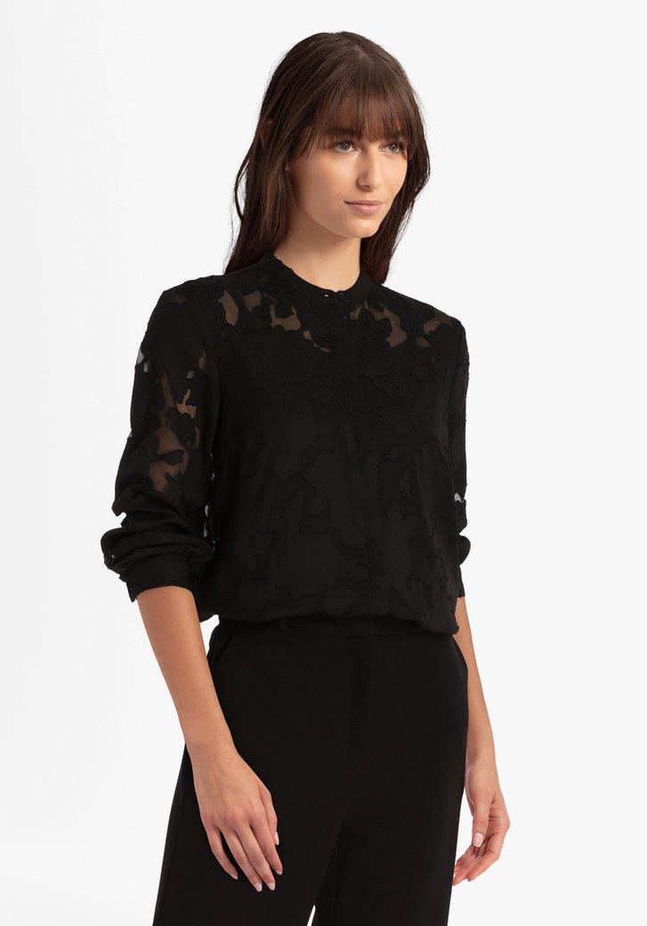 Zwarte doorzichtige blouse met bloemenprint