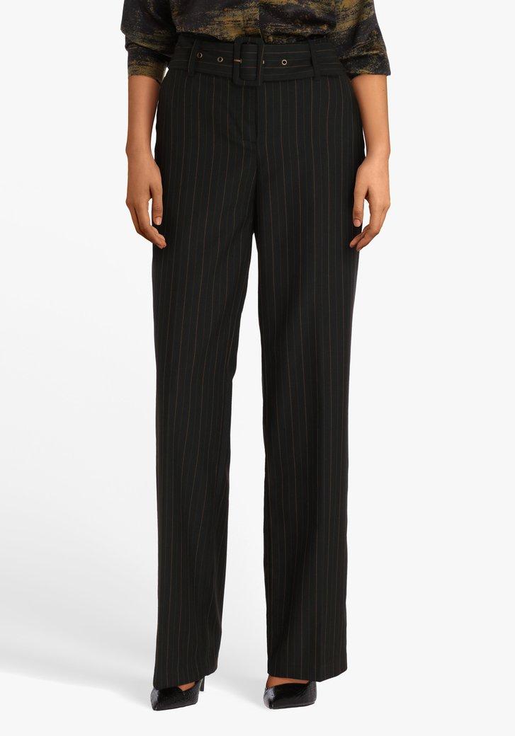 Zwarte geklede broek met streepjes