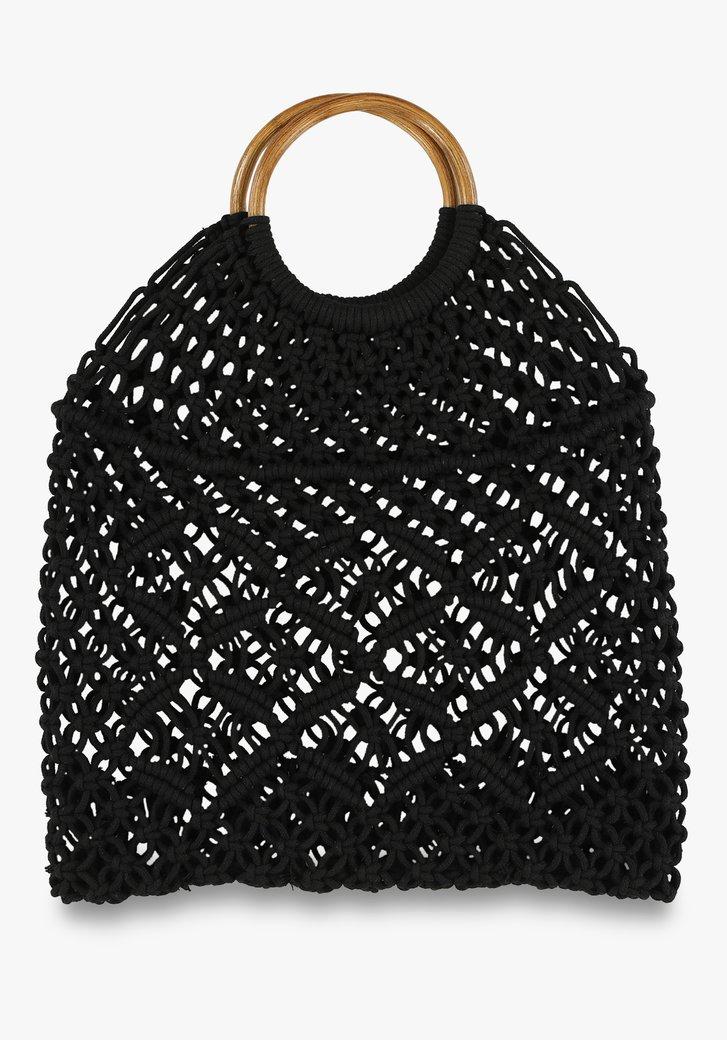 Zwarte gevlochten strandtas