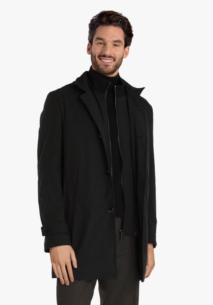 Zwarte gewatteerde jas zonder kap