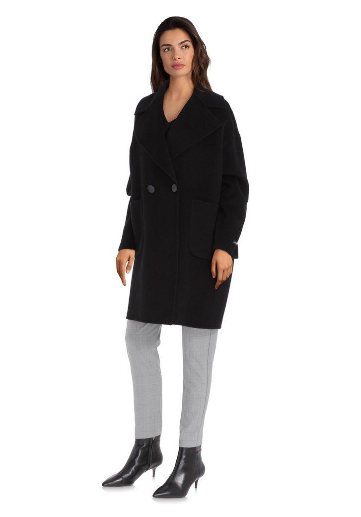 Zwarte handgemaakte wollen mantel met grote kraag