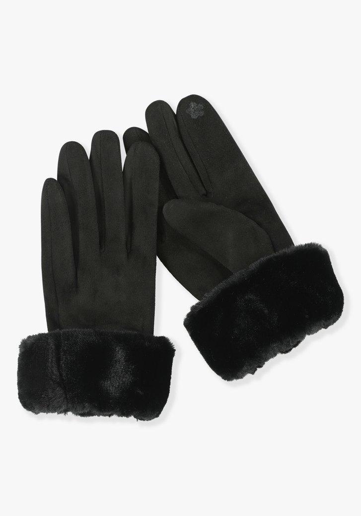 Zwarte handschoenen met pelsje
