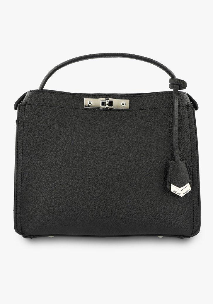 Zwarte handtas in lederlook met drie  vakken