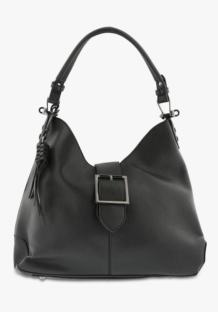 Zwarte handtas in lederlook met grote sluiting