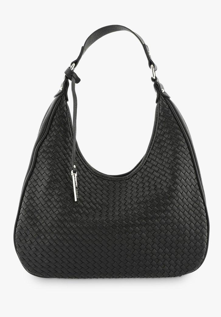 Zwarte handtas met geweven structuur
