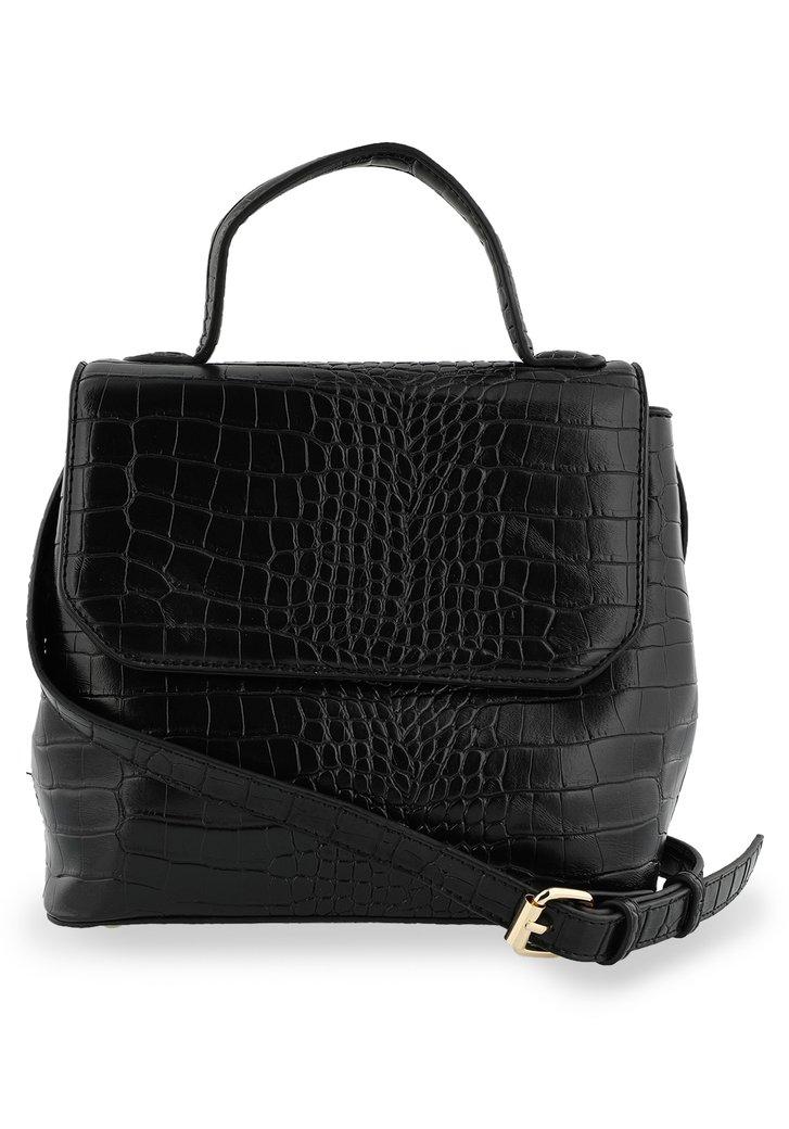 Afbeelding van Zwarte handtas met krokodillenprint
