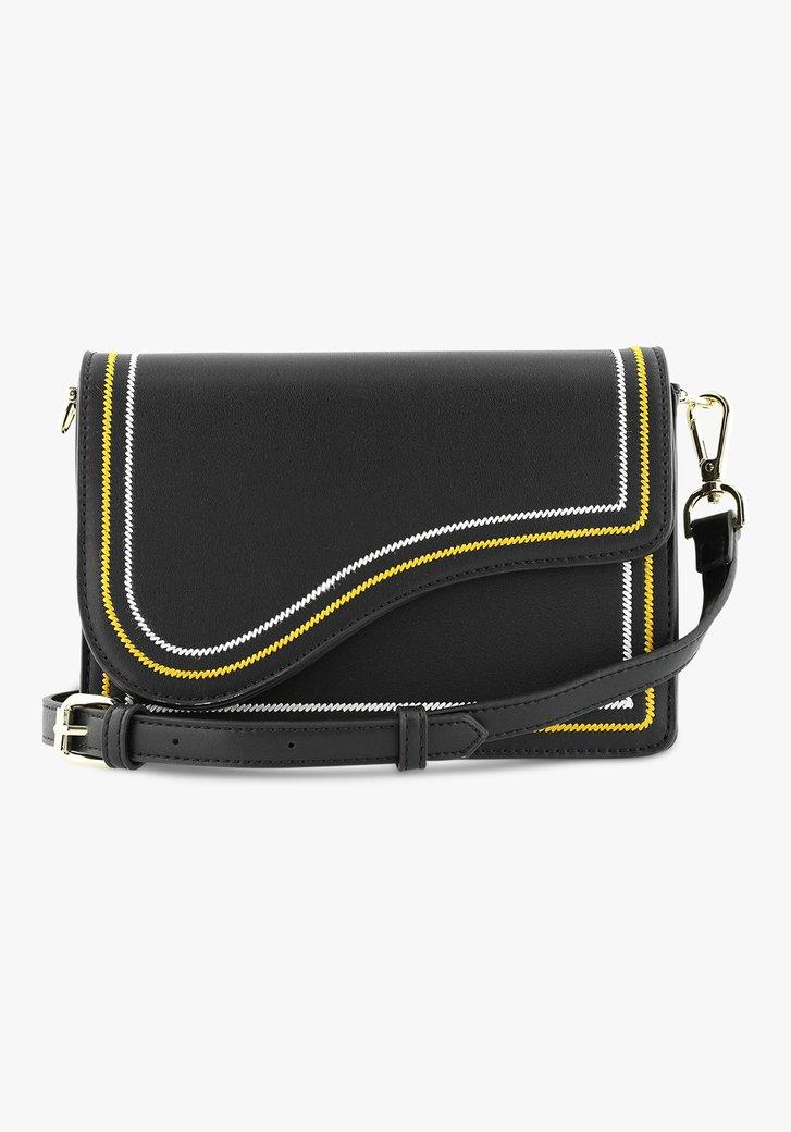 Zwarte handtas met oker en wit accent