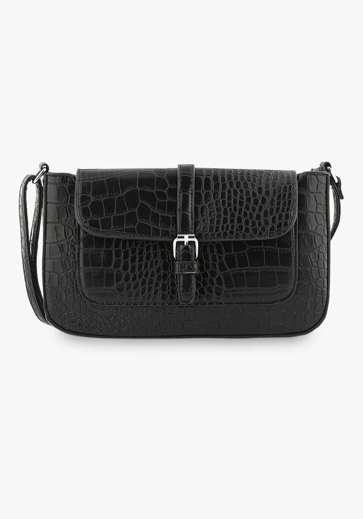 Zwarte handtas met slangenprint