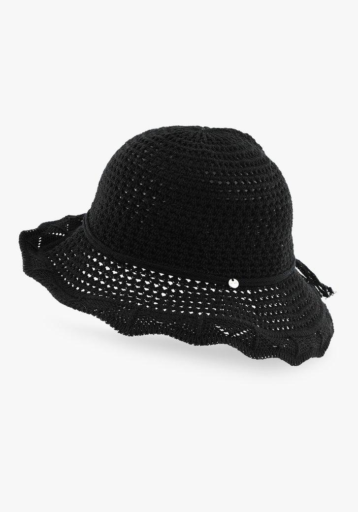 Zwarte hoed met golvende rand