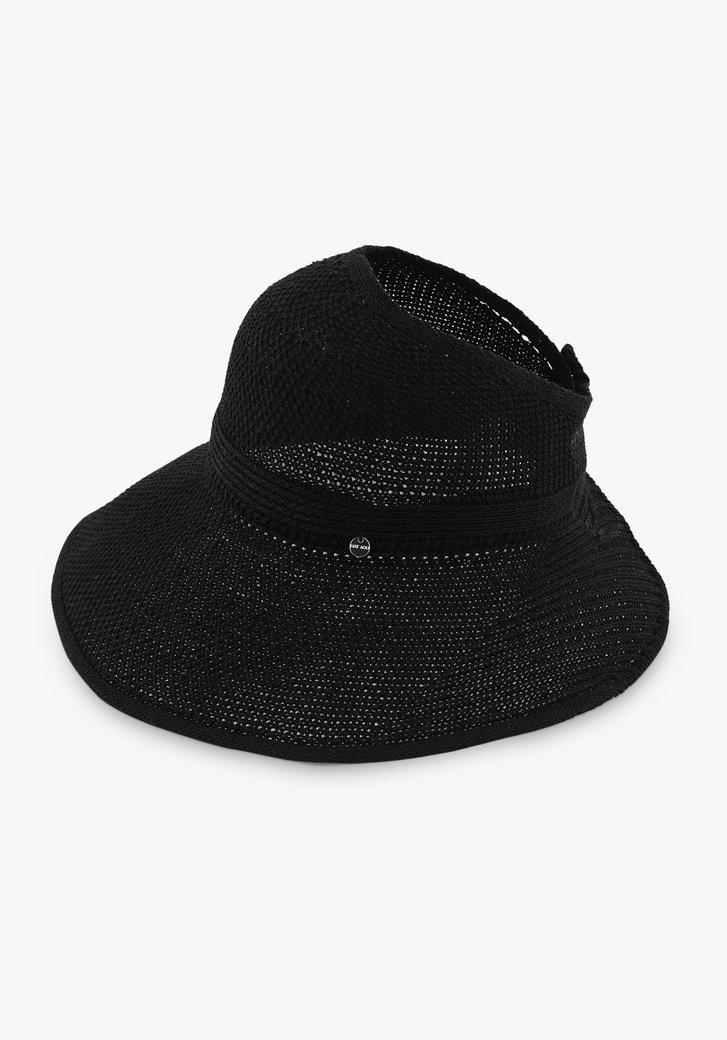Zwarte hoed met opening bovenaan en velcrosluiting