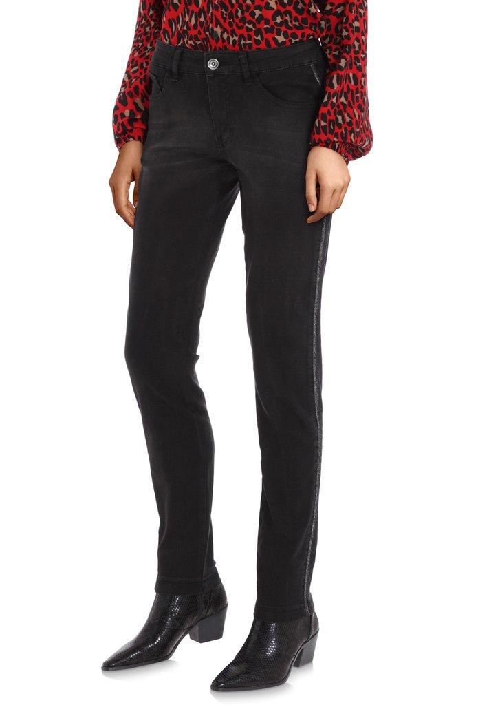 Zwarte jeans met lurex biesje - slim fit