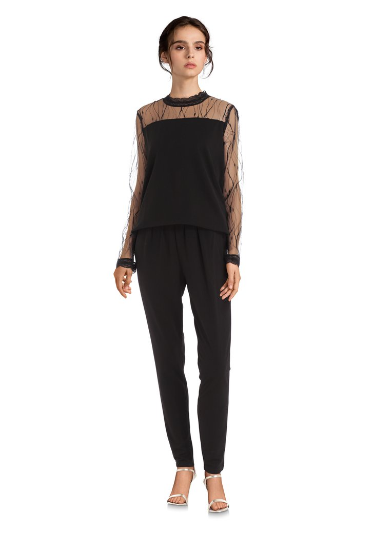 Zwarte jumpsuit met mouwen in kant - slim fit