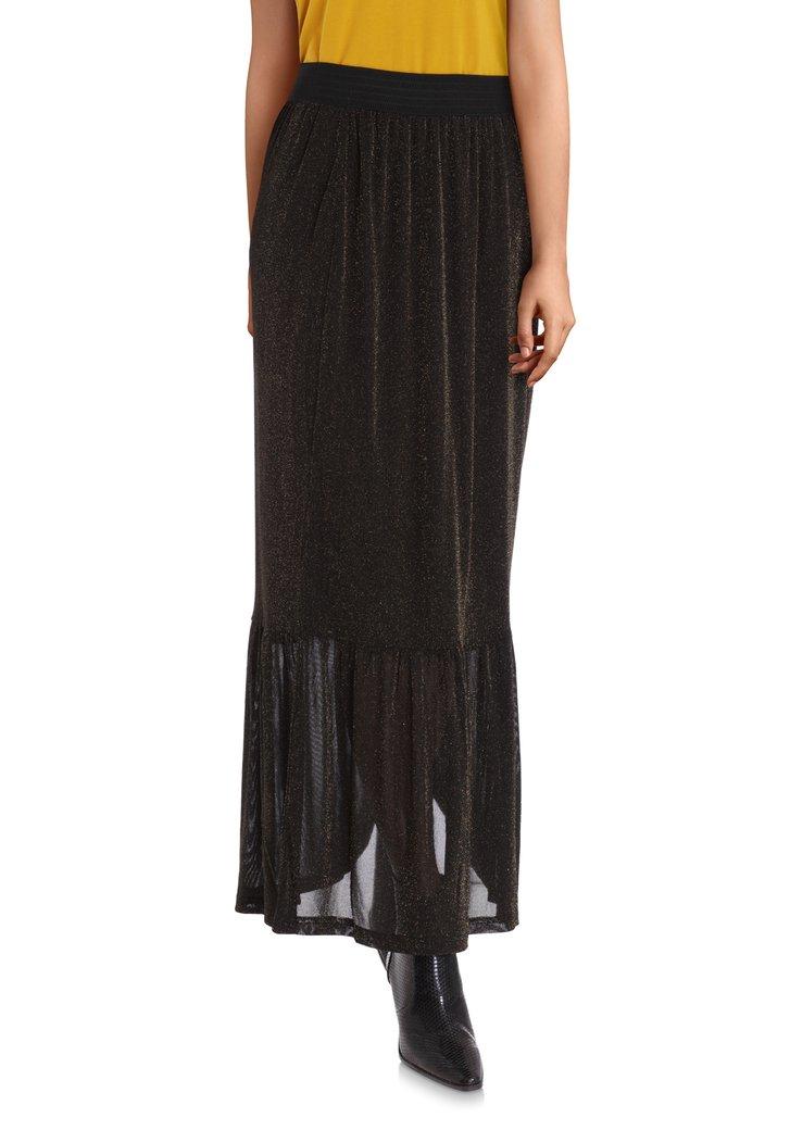 Zwarte lange rok met goudkleurige lurex