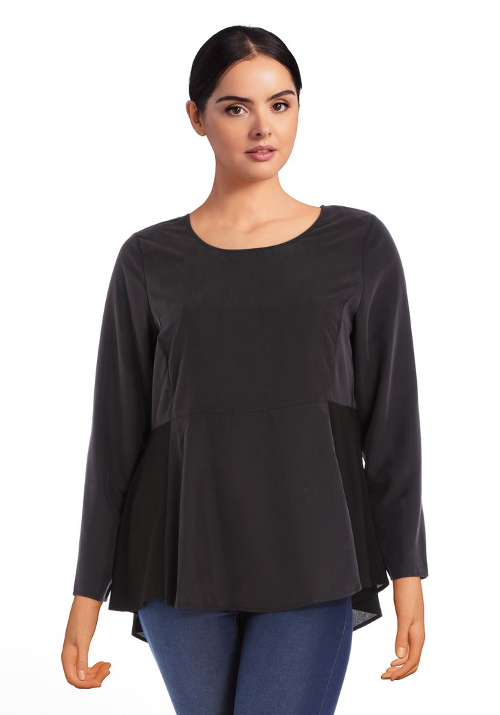 Zwarte losse blouse in tencel