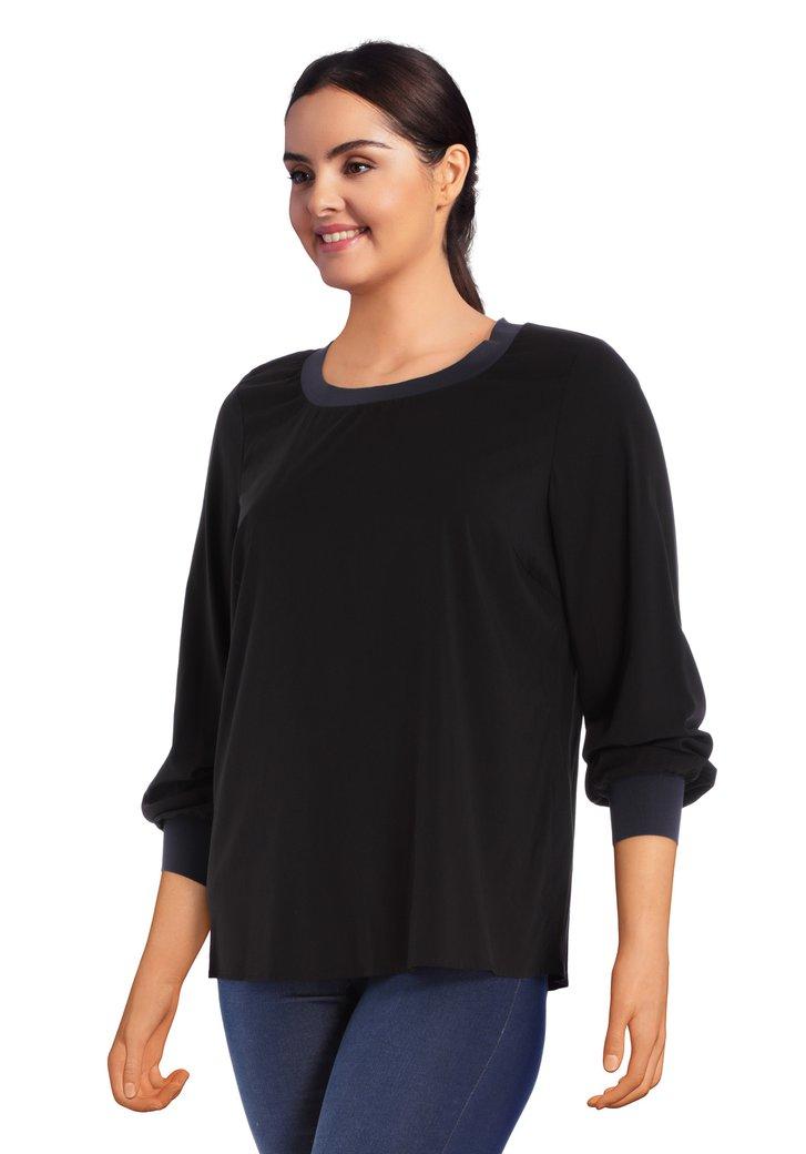 Zwarte losse blouse in viscose