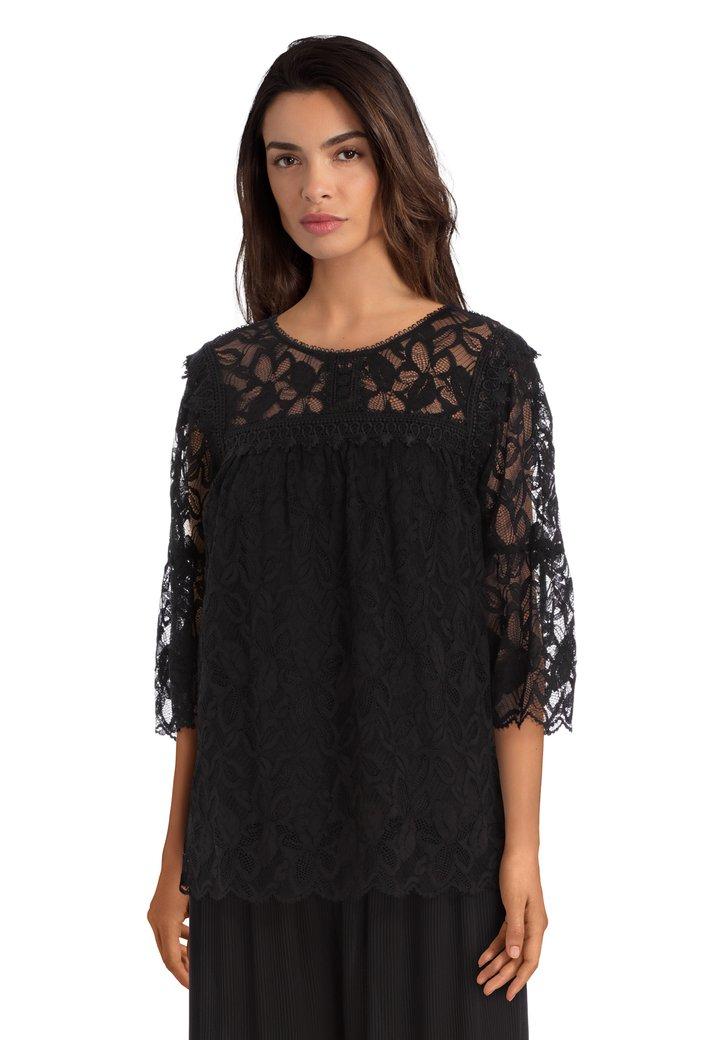 Afbeelding van Zwarte oversized kanten blouse