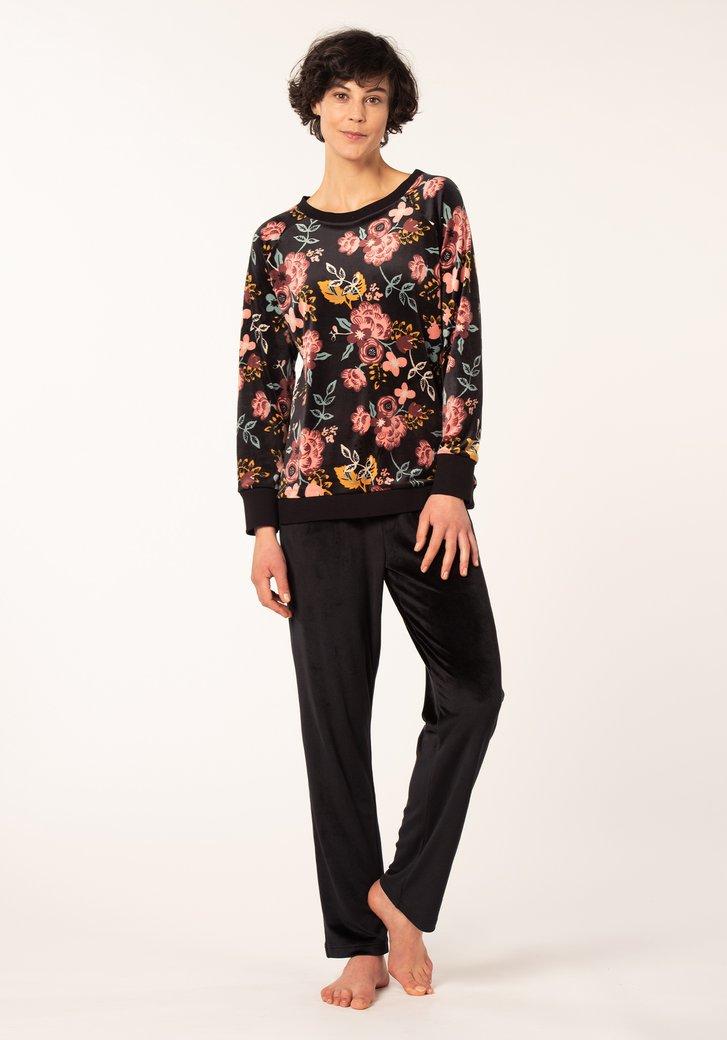 Zwarte pyjama met gekleurde bloemen