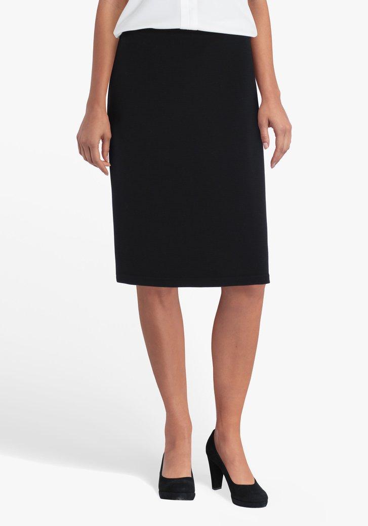Zwarte rok in structuurstof met elastische taille