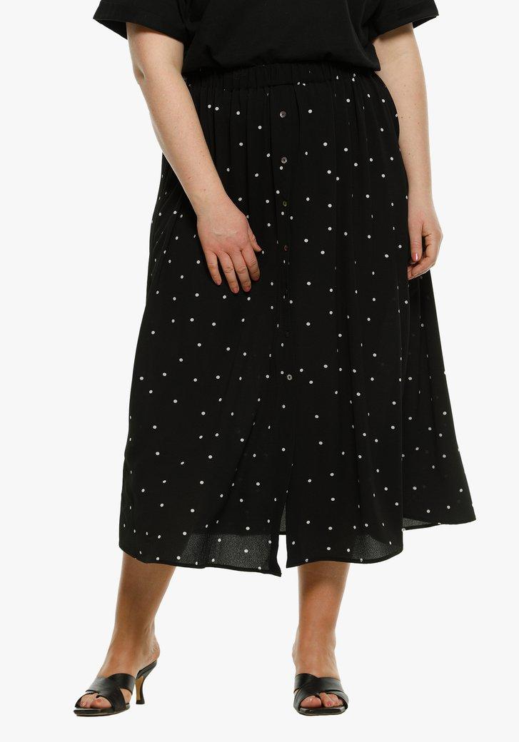 Zwarte rok met witte stippen en elastische taille