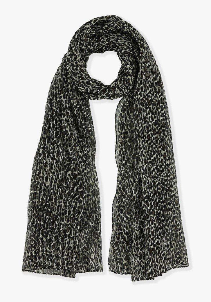 Zwarte sjaal met beige print
