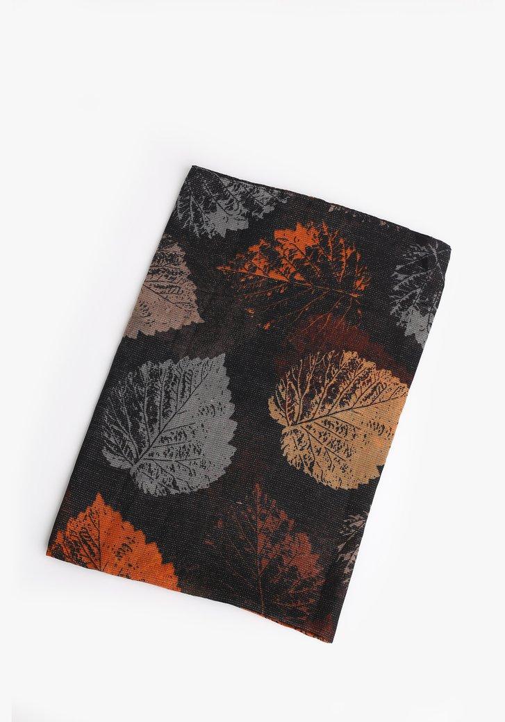 Zwarte sjaal met bladerprint en glitterdraad
