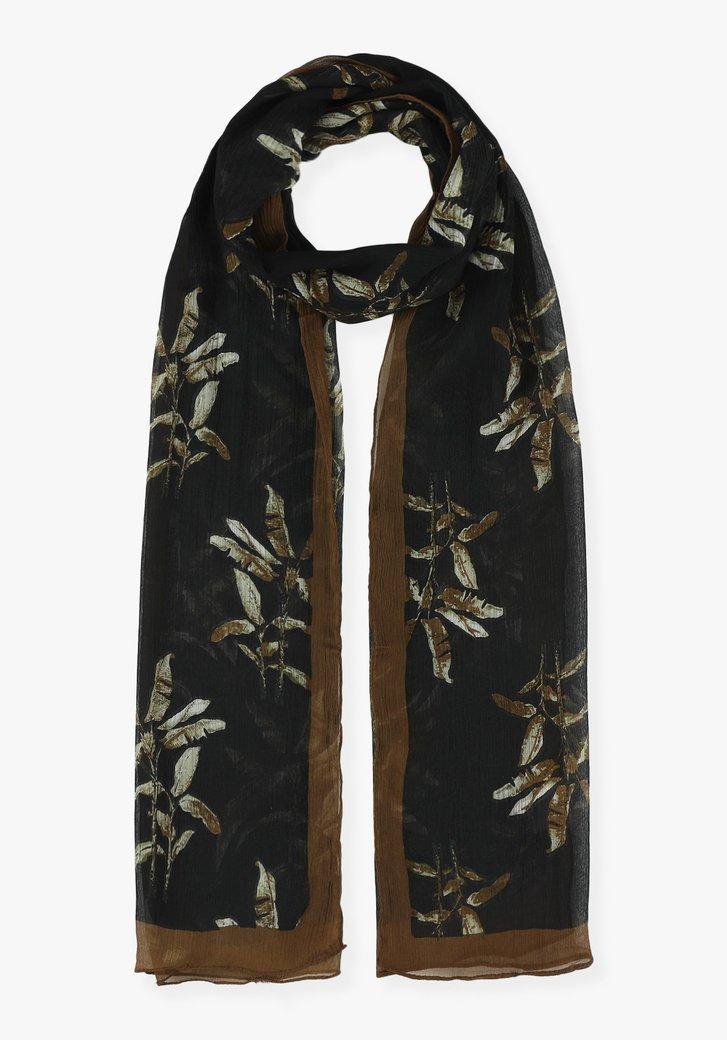 Zwarte sjaal met bruine bladerprint