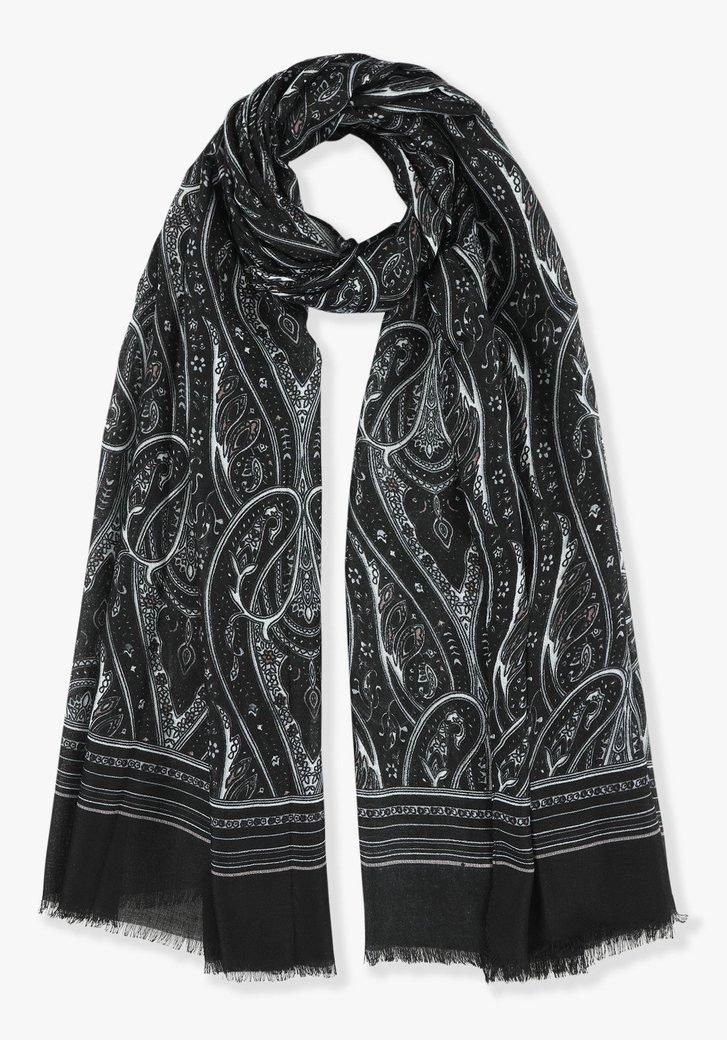Zwarte sjaal met grijze print