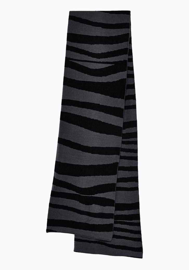 Zwarte sjaal met grijze zebraprint