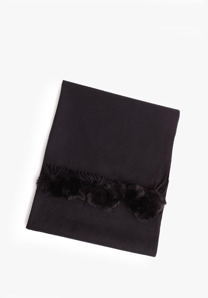 Zwarte sjaal met pomponnetjes