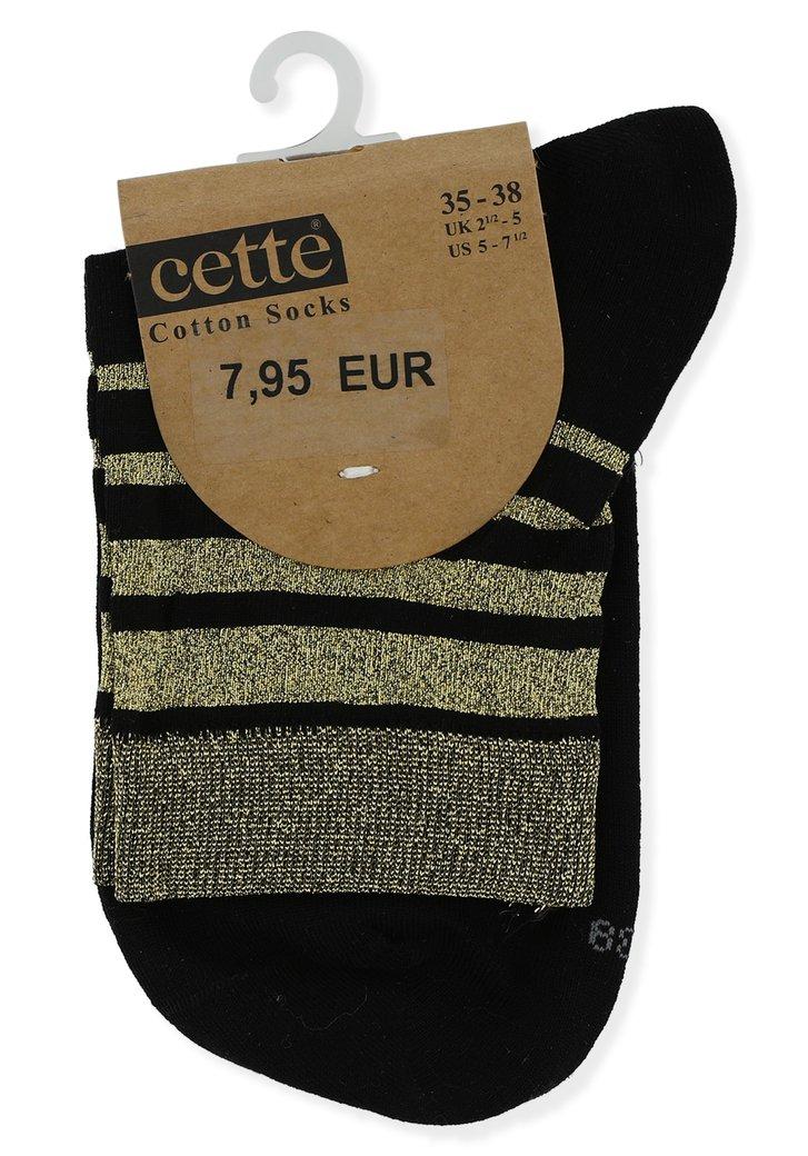 Zwarte sokken met goudkleurige streepjes