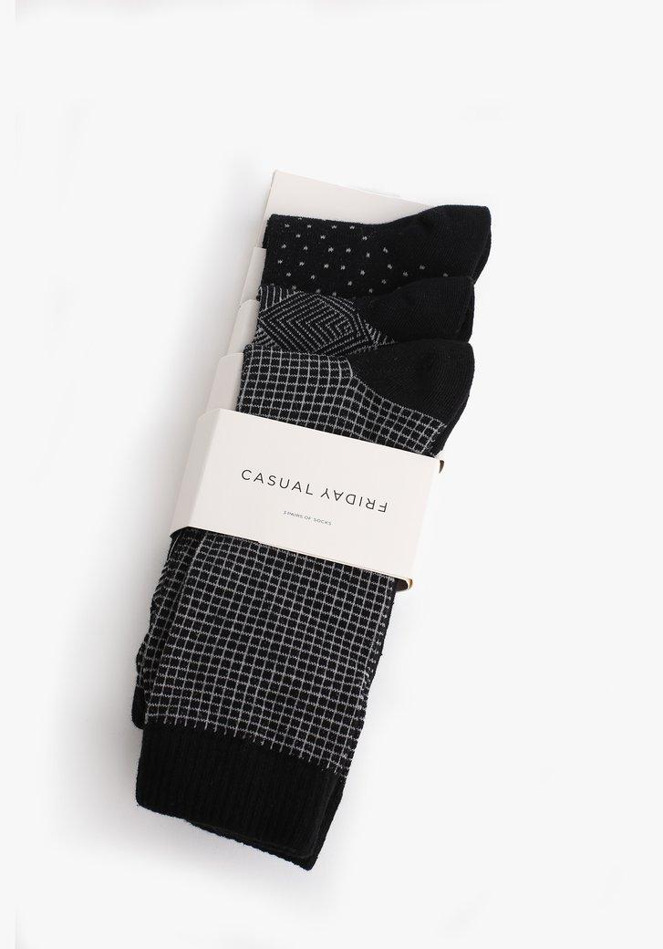 Zwarte sokken met print - 3 paar
