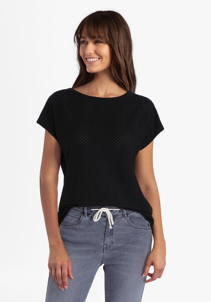 Zwarte T-shirt in structuurstof