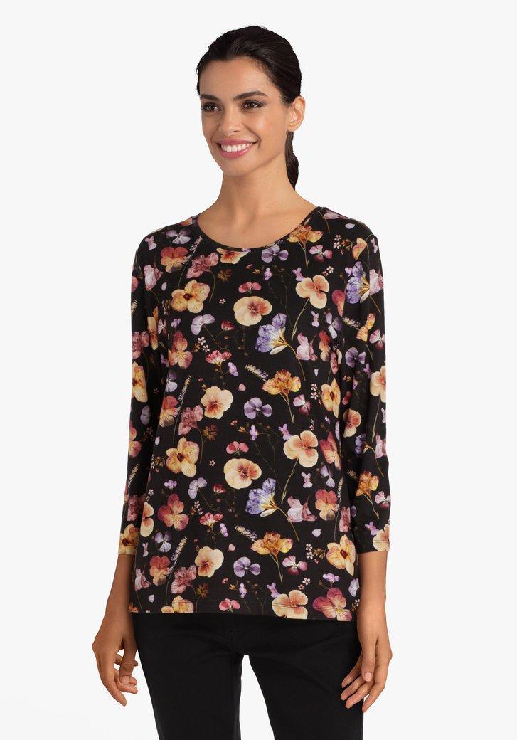 Zwarte T-shirt met bloemenprint