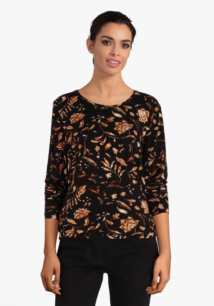 Zwarte T-shirt met bruine bloemen