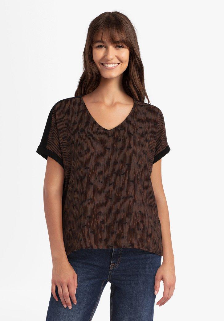 Zwarte T-shirt met bruine print