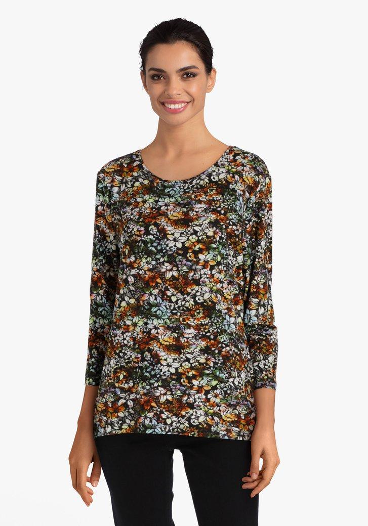 Zwarte T-shirt met gekleurde bloemen