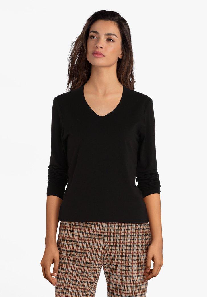 Zwarte T-shirt met lange mouwen