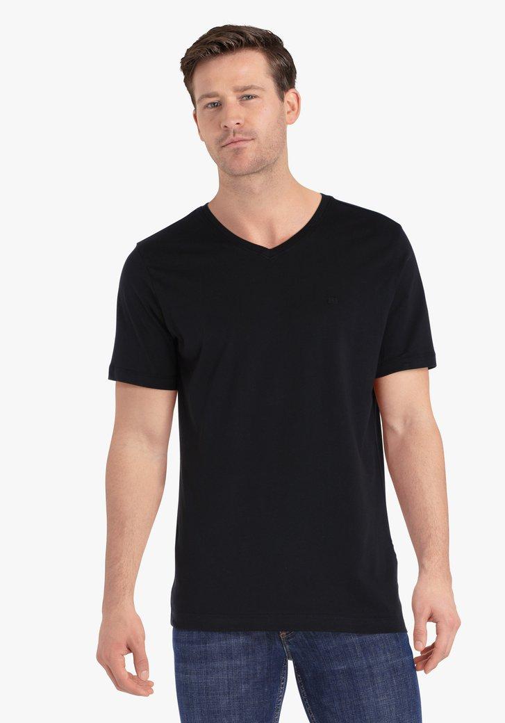 Zwarte T-shirt met V-hals
