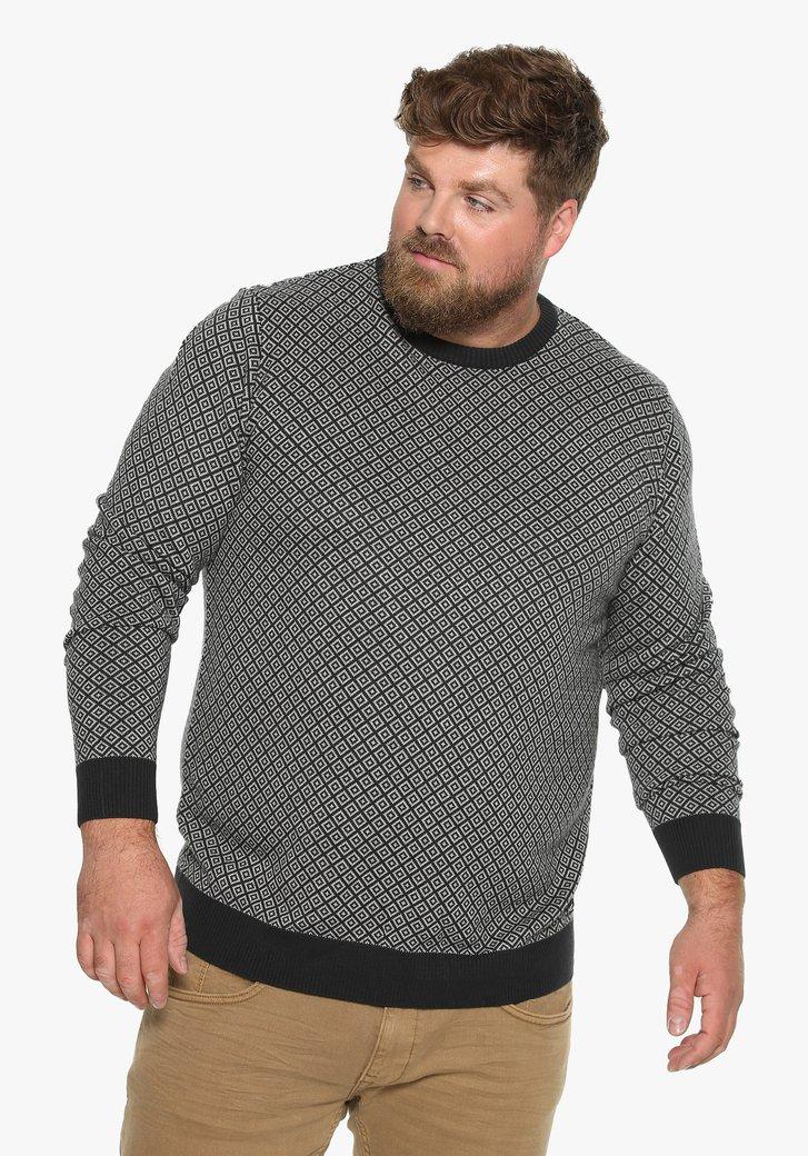 Zwarte trui met geometrisch motief en ronde hals