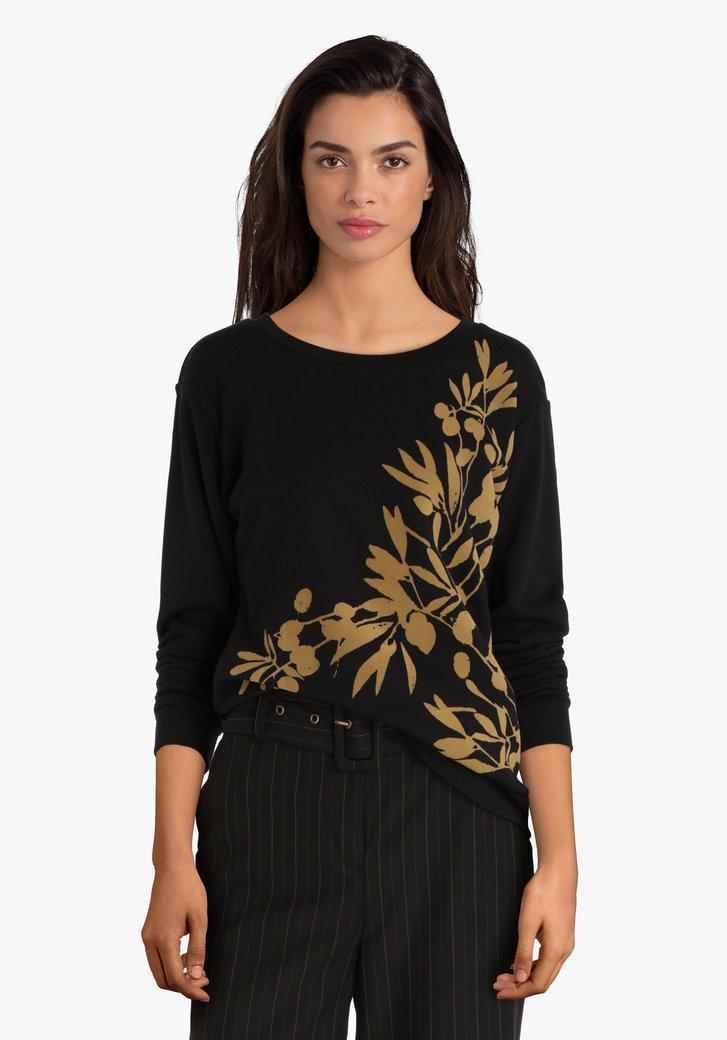 Zwarte trui met gouden print
