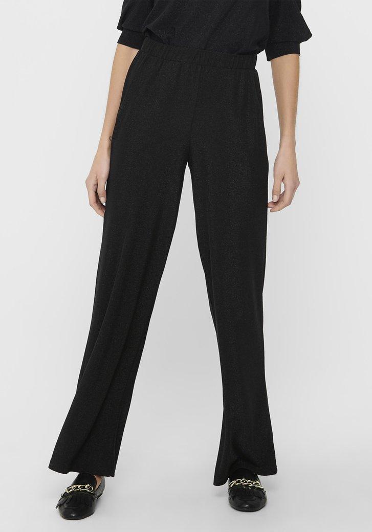 Zwarte wijde broek met glitter