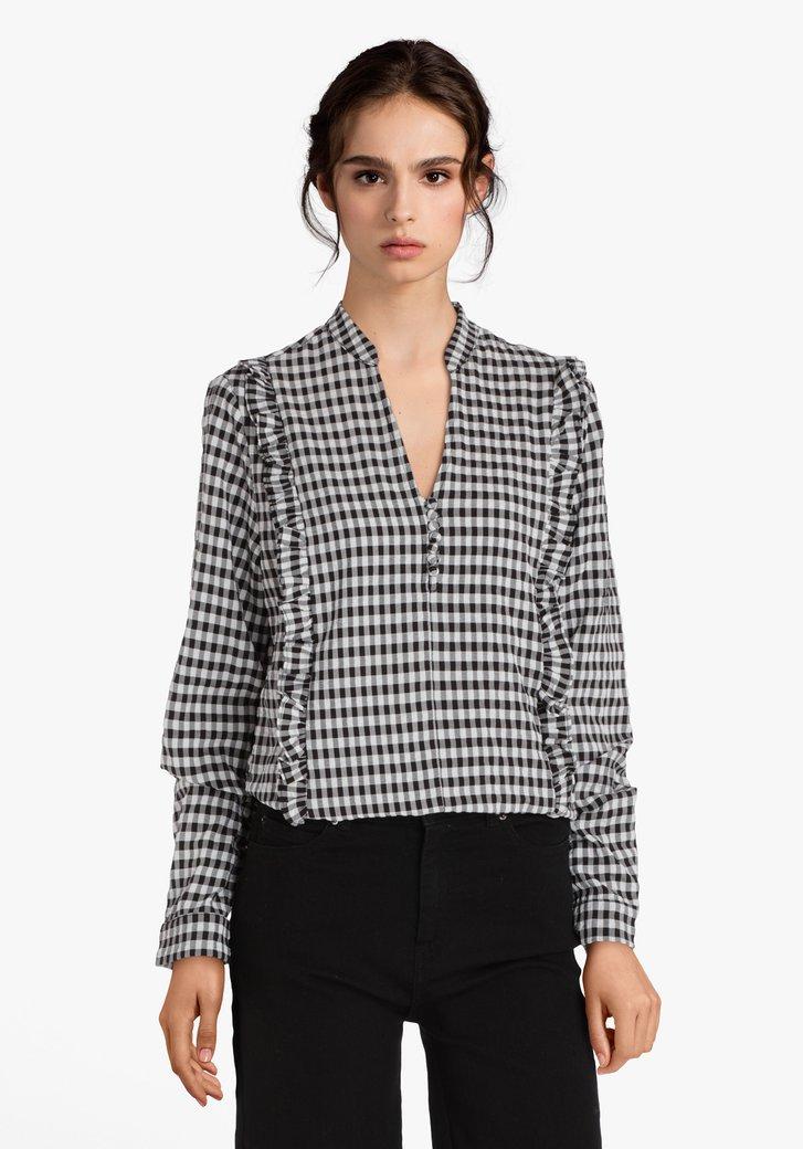 Zwarte-witte blouse met vichyruit