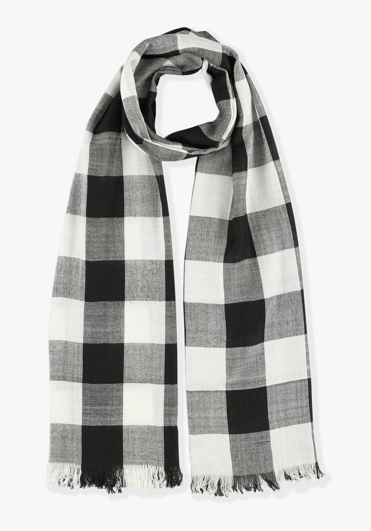 Zwarte-witte sjaal met vichyruit