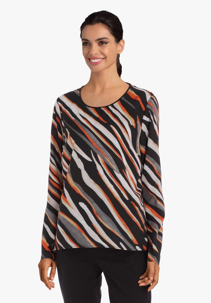Zwarte zijdeachtige blouse met oranje strepen