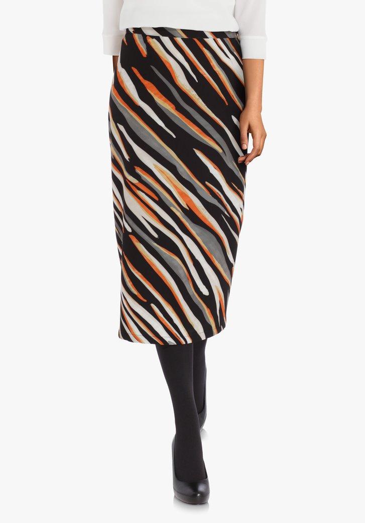 Zwarte zijdeachtige rok met oranje strepen
